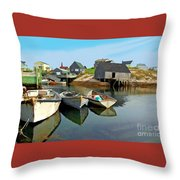 Three Boats At Peggys Cove Throw Pillow