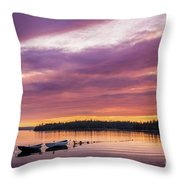 Three Boats In French Village, Nova Scotia #2 Throw Pillow