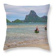 Three Boats Thailand Throw Pillow