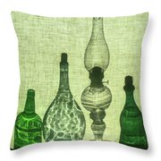 Three Bottles And A Lamp Throw Pillow