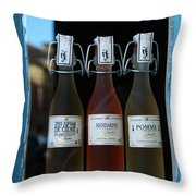 Three Bottles Of Liqueur Throw Pillow
