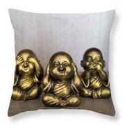 Three Buddha Statue Throw Pillow