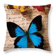 Three Butterflies Throw Pillow
