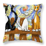 Three Cats On A Fence Throw Pillow