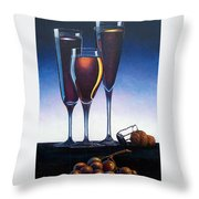 Three Champagne Glasses Throw Pillow