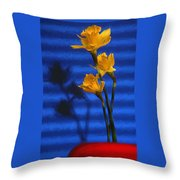 Three Cheers - Yellow Daffodils In A Red Bowl Throw Pillow