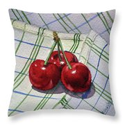 Three Sweet Cherries By Irina Sztukowski Throw Pillow