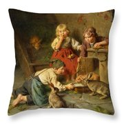 Three Children Feeding Rabbits Throw Pillow