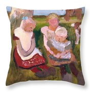 Three Children Sitting On A Hillside With Dog And Horse Throw Pillow