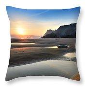 Three Cliffs Bay 2 Throw Pillow