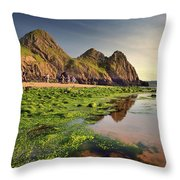 Three Cliffs Bay 3 Throw Pillow