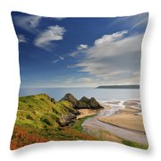 Three Cliffs Bay 4 Throw Pillow