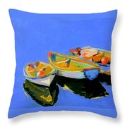 Three Colourful Boats Throw Pillow