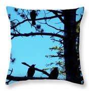 Three Crows In A Tree Throw Pillow