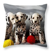 Three Dalmatian Puppies  Throw Pillow by Garry Gay