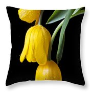 Three Drooping Tulips Throw Pillow