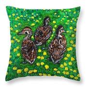 Three Ducklings Throw Pillow