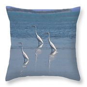 three Egrets Throw Pillow
