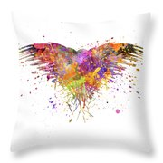 Three Eyed Crow In Watercolor Art Throw Pillow