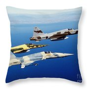 Three F-5e Tiger II Fighter Aircraft Throw Pillow