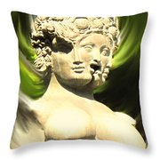 Three Faced Statue Throw Pillow