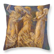 Three Female Figures Dancing And Playing Throw Pillow