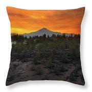 Mount Jefferson At Sunset Throw Pillow