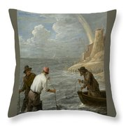 Three Fishermen Casting Their Nets Throw Pillow