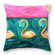 Three Flamingoes Throw Pillow