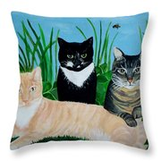 Three Furry Friends Throw Pillow