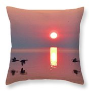 Three Geese Flying By The Sunrise  Throw Pillow