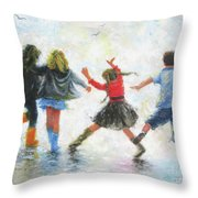 Three Girls And Boy Throw Pillow
