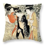 Three Girls Paddling In A River Throw Pillow
