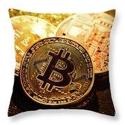 Three Golden Bitcoin Coins On Black Background. Throw Pillow