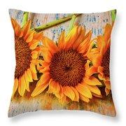 Three Graphic Sunflowers Throw Pillow