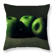 Three Green Apples Throw Pillow by Frank Wilson