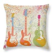 Three Guitars Paint Splatter Throw Pillow