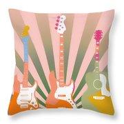 Three Guitars Pop Art Throw Pillow