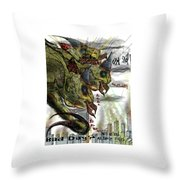 Three Headed Bird Cyborg Monster Attacking A City With Fire And Lasers For T-shirts Throw Pillow