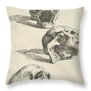 Three Human Skulls Throw Pillow