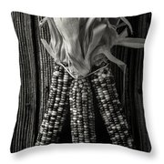 Three Indian Corn In Black And White Throw Pillow