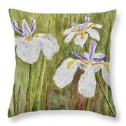 Three Irises In The Rain Throw Pillow