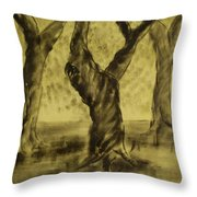 Three Is As Tree Gets Throw Pillow
