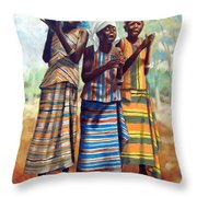Three Joyful Girls Throw Pillow