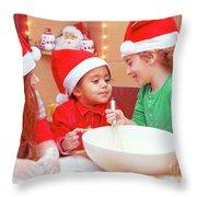 Three Kids Making Christmas Cookies Throw Pillow