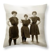 Three Ladies Bathing In Early Bathing Suit On Carmel Beach Early 20th Century. Throw Pillow