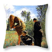 Three Ladies In A Field Throw Pillow