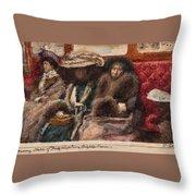 Three Ladies On Carriage Throw Pillow