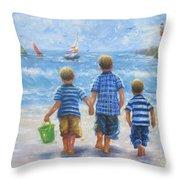 Three Little Beach Boys Walking Throw Pillow