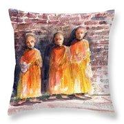 Three Little Monks Throw Pillow